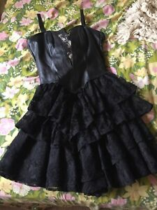 vintage 80s new wave goth black leather lace ruffle