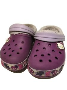 Hello-Kitty-Girls-Faux-Fur-Crocs-Sandals-Size-8-9-Purple-Pink-Slingbacks-Clogs