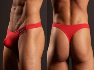 Men-039-s-cotton-underwear-sexy-low-cut-U-convex-men-039-s-thong-Red-L