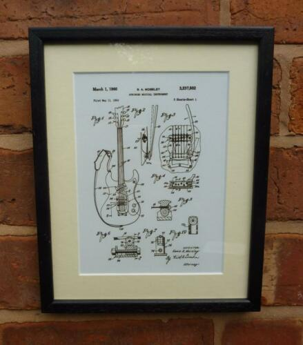 USA Patent Drawing  Moseley ROCK /& ROLL GUITAR MOUNTED PRINT 1966 Xmas Gift
