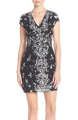 $594 Parker /'Vegas/' Embellished Body-Con Black Dress Size 4 NWT