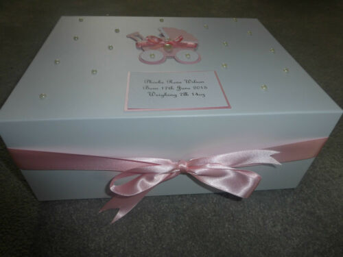 Personalised memory Box New Baby Keepsake Box pink blue //boy girl Baby Shower