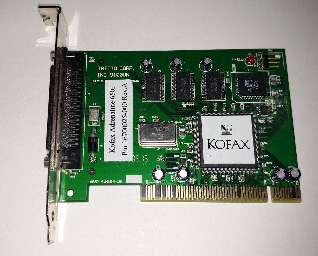 Kofax Adrenaline 650i SCSI Card 16700025-000 PCI Rev A INI-9100UW INITIO