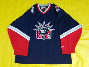 New-York-Rangers-Jersey-ProPlayer-Mens-Large-L-Blue-Lady-Liberty-Pro-Player-NHL