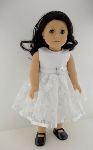 Beautiful All White Dress with Silver Buckle At Waist Designed for 18 Inch Doll