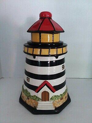Lighthouse Theme Cookie Jar W Red Lid Ocean Beach Nautical Ebay