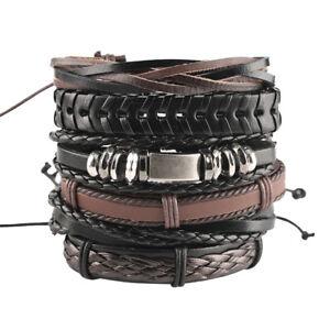 Multi-layer-Leather-Bracelet-1-Set-Punk-Wrap-Bead-Bangle-For-Men-amp-Women-Jewelry