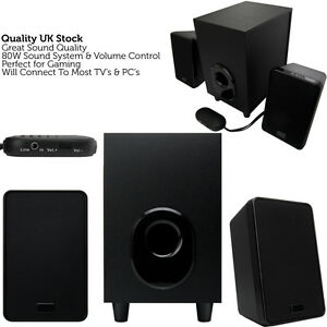 quality 2 1 laptop pc surround sound speaker system. Black Bedroom Furniture Sets. Home Design Ideas