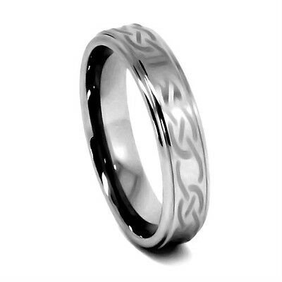6MM Women's Tungsten Carbide Polished Laser-Etched Knot Wedding Band