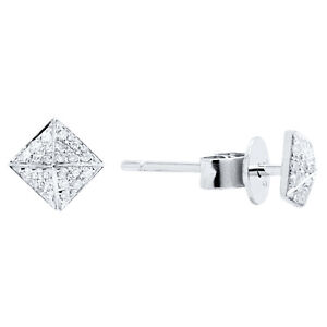 cf11b3b9c 14K WHITE GOLD PAVE DIAMOND PYRAMID SPIKE SQUARE STUD STUDS EARRINGS ...