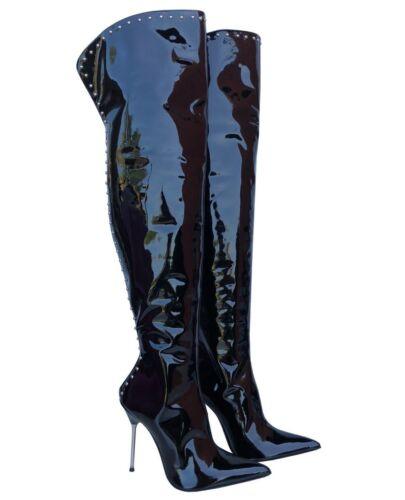Zip Boots Leather Couture Cq Stiefel Custom 38 Studs Nero Overknee Black Stivali Oawf1qB