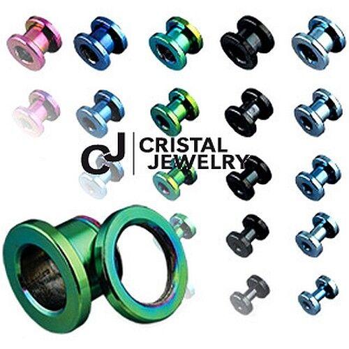 Flesh Tunnel Ohr Plug Piercing mit farbiger Titan PVD beschichtung Farbwahl