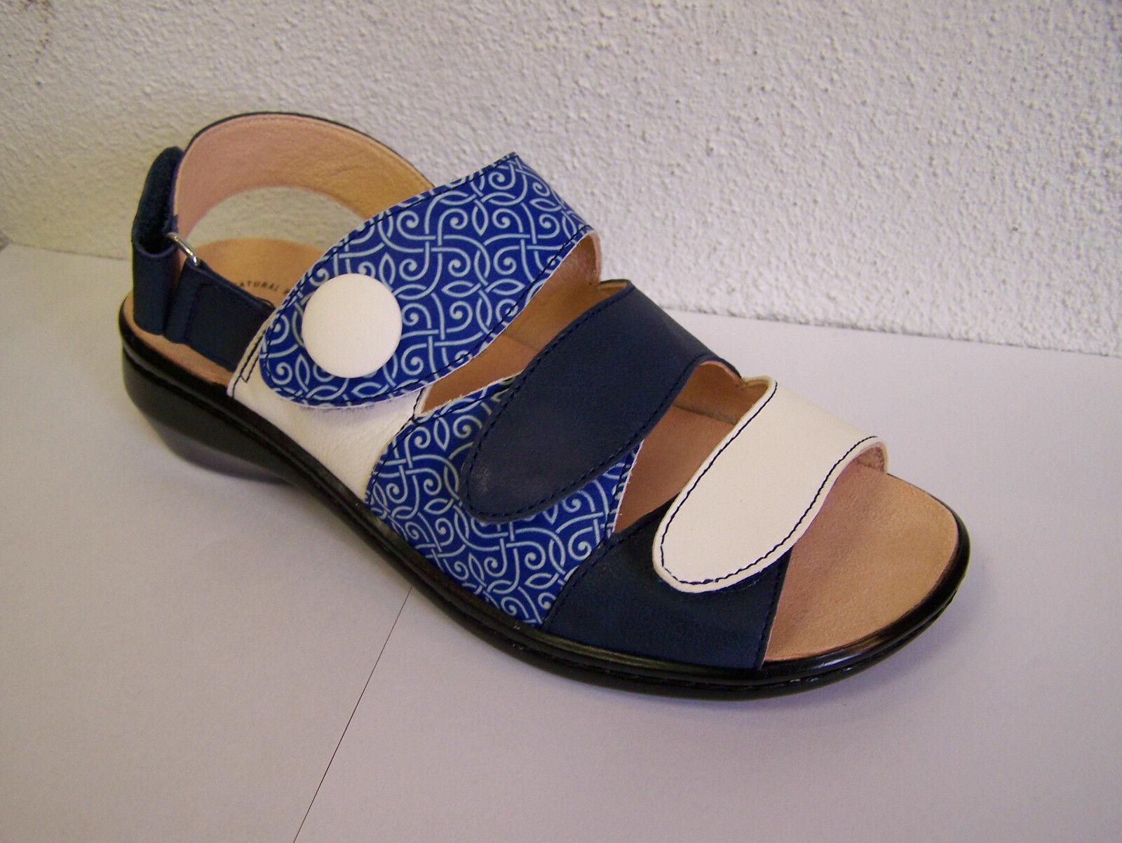 Think! zapato modelo camilla en azul/crema Capri con cambio plantilla