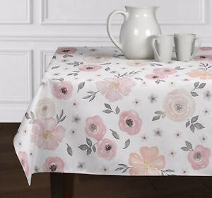 pink grey white watercolor floral rose tablecloths dining room