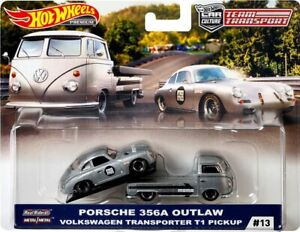 Equipe-Transport-Porsche-356A-Outlaw-Volkswagen-T1-Pickup-Momo-1-64-Hot-Wheels