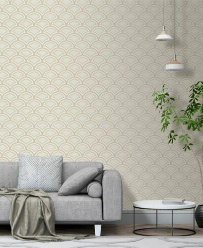 Debona 2482 Glitter Moon Beige Silver Glitter Retro Art Deco Fan Wallpaper