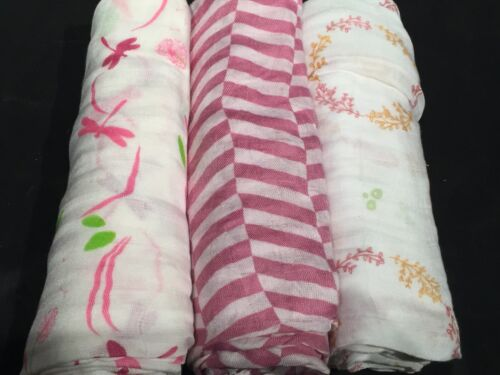 3 Pack Bamboo Muslin Swaddle Baby Blankets Newborn Infant Receiving Pink Girl