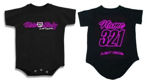 MOTO BABY T SHIRT CREEPER INFANT ONE PIECE MOTOCROSS MX BIKE JUST RIDE NUMBER