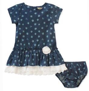 aa33b3e5d96b Calvin Klein Infant Girls Chambray Dress W Panty Size 3 6M 6 9M 12M ...