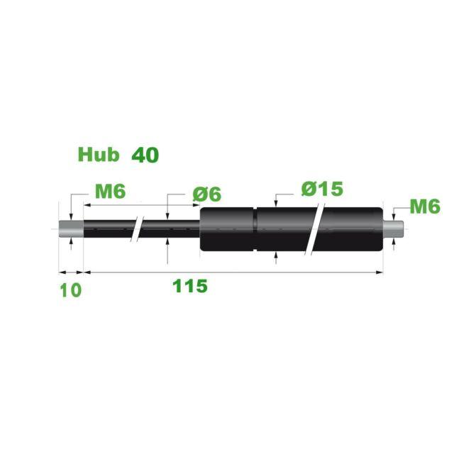 Hub=72,Länge 225,Ø 8//18 mm Made in EU 3 Gasdruckfeder Lift Haubenheber 300N