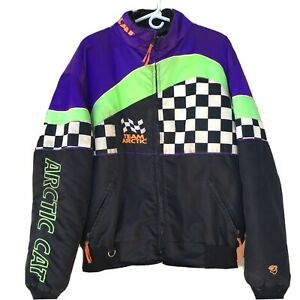 Vintage-Arctic-Cat-Snowmobile-Indy-Racing-Sled-Jacket-Coat-Mens-XL-Purple-Green
