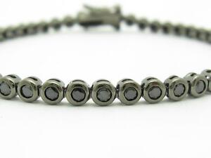 Black-Gold-Sterling-Silver-Black-Sapphire-Round-Cut-Bezel-Tennis-Bracelet-Gift