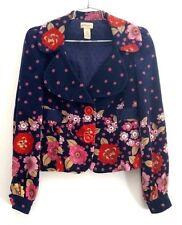 Elevenses Size 0 Moonlit Petunia Jacket Anthropologie Navy Floral Print Corduroy