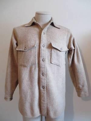 Vintage Woolrich Mens Wool Light Brown Beige Shirt Jacket Hunting Gear M