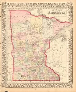 1874 ANTIQUE MAP - USA - MINNESOTA | eBay