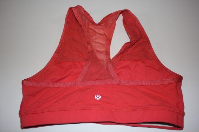 9a03e7365427e Lululemon 6 Bra Coral Pink Yoga Workout Top Racerback w  Sheer Mesh   Floral