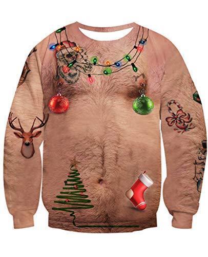 NEWISTAR Unisex Weihnachtpullover 3D Herren Damen Pullover (M|Brustbehaarung)