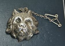 Antique STERLING SILVER Victorian DOG'S HEAD Terrier Repousse BROOCH / PIN