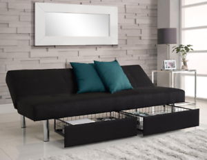 differently 317ab c5675 Details about Futon Sofa Bed Convertible Sleeper Couch Full Size Twin  Storage Drawers Black