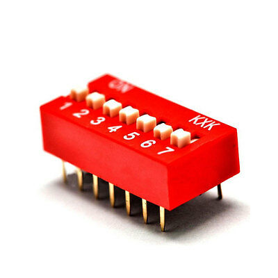 20x Switch Module 7p 7-Bit 7 Position Way Slide Type 2.54mm Pitch DIP NEW (Red)