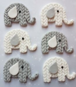 6 Handmade Edible Elephant Cupcake Toppers Decorations Baby Shower Christening