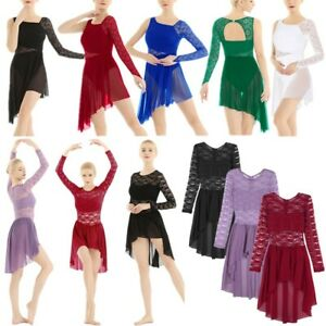 Women-Lyrical-Dress-Contemporary-Ballet-Dance-Costume-Leotard-Bodysuit-Tutu