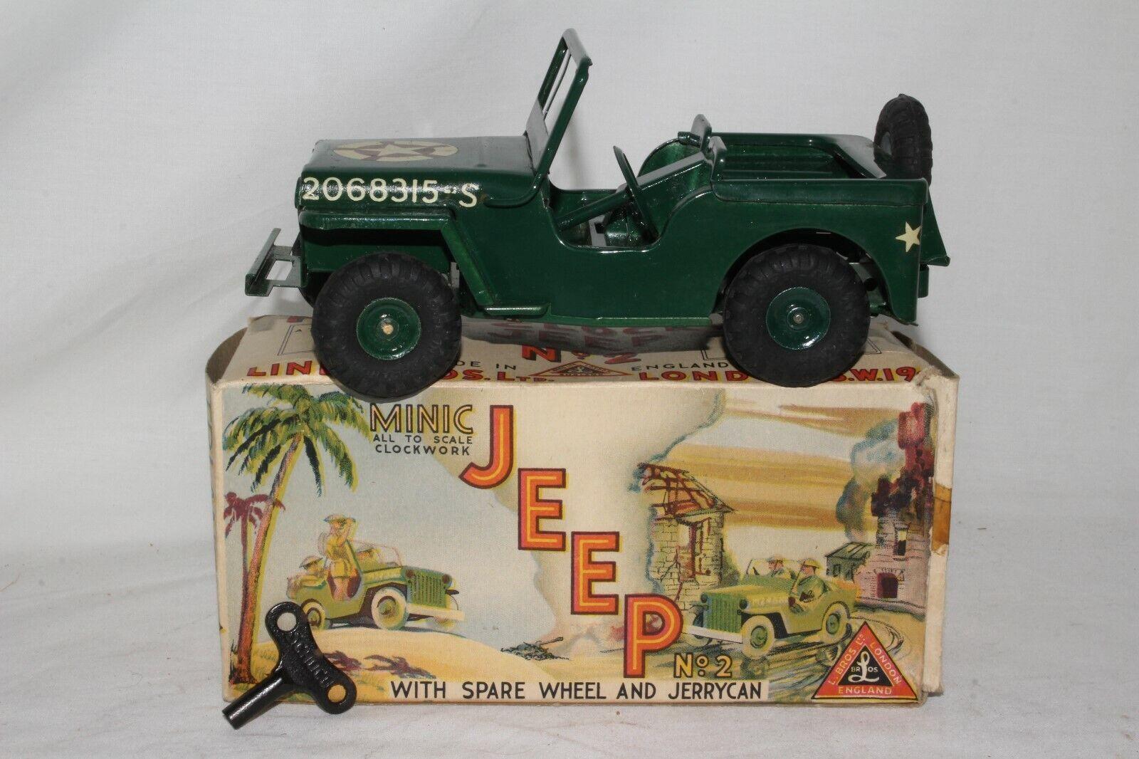 1950's Triang Minic Tin Windup Gree Jeep con Originale scatola