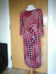Ladies-Dress-Size-14-PER-UNA-Orange-Black-Stretch-Ruched-Smart-Party-Evening