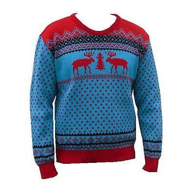 Herren Damen Rentier Schneeflocken Pulli Retro Weihnachten Fairisle Pullover
