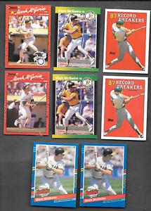 4- 1987-1991 Mark McGwire Error Cards & 4 Mark McGwire Oakland  A' s Cards