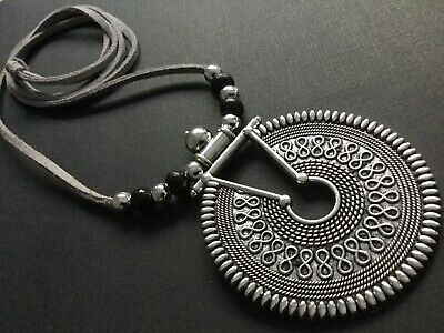 Black Suede Choker necklace with A statement Antique Silver ethnic Pendant Boho