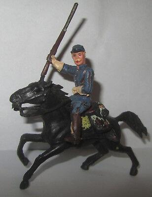 Apprensivo Soldatino Xiloplasto Soldato Nordista A Cavallo Nero Con Fucile E Sella Gomma Elaborato Finemente
