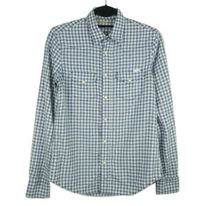 MOTHER-Womens-Blue-Plaid-Long-Sleeve-Button-Pearl-Snap-Shirt-Size-Small