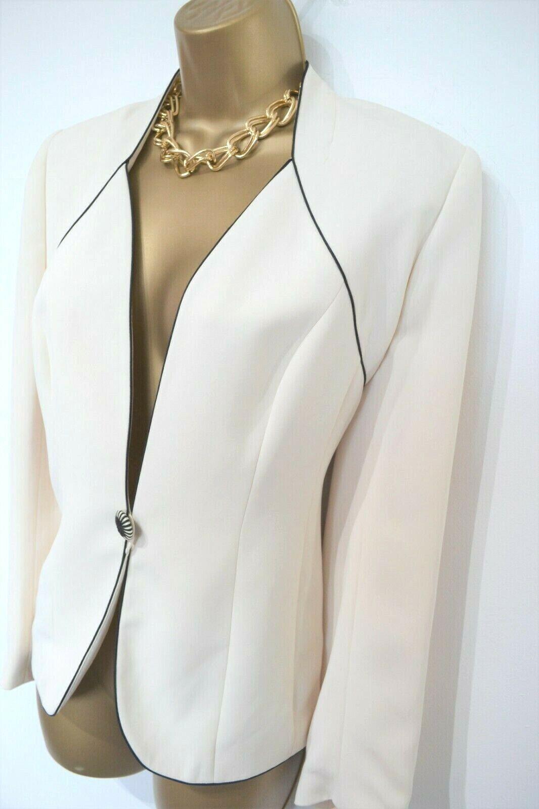 Jacques Vert Size 10 Cream Black Jacket Wedding Occasion