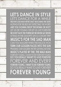 FOREVER YOUNG - ALPHAVILLE - Typography Lyrics Words Wall ...