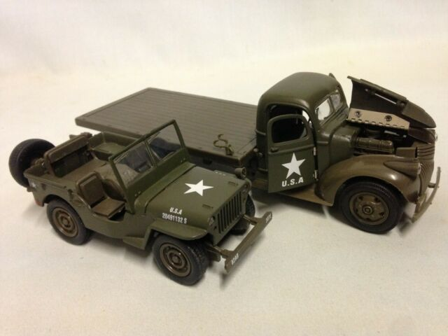 Chevy Military Trucks For Sale >> 1941 Chevy Flatbed Jeep Willys Diecast 1 32 Wwii Military U S Army Newray Toys