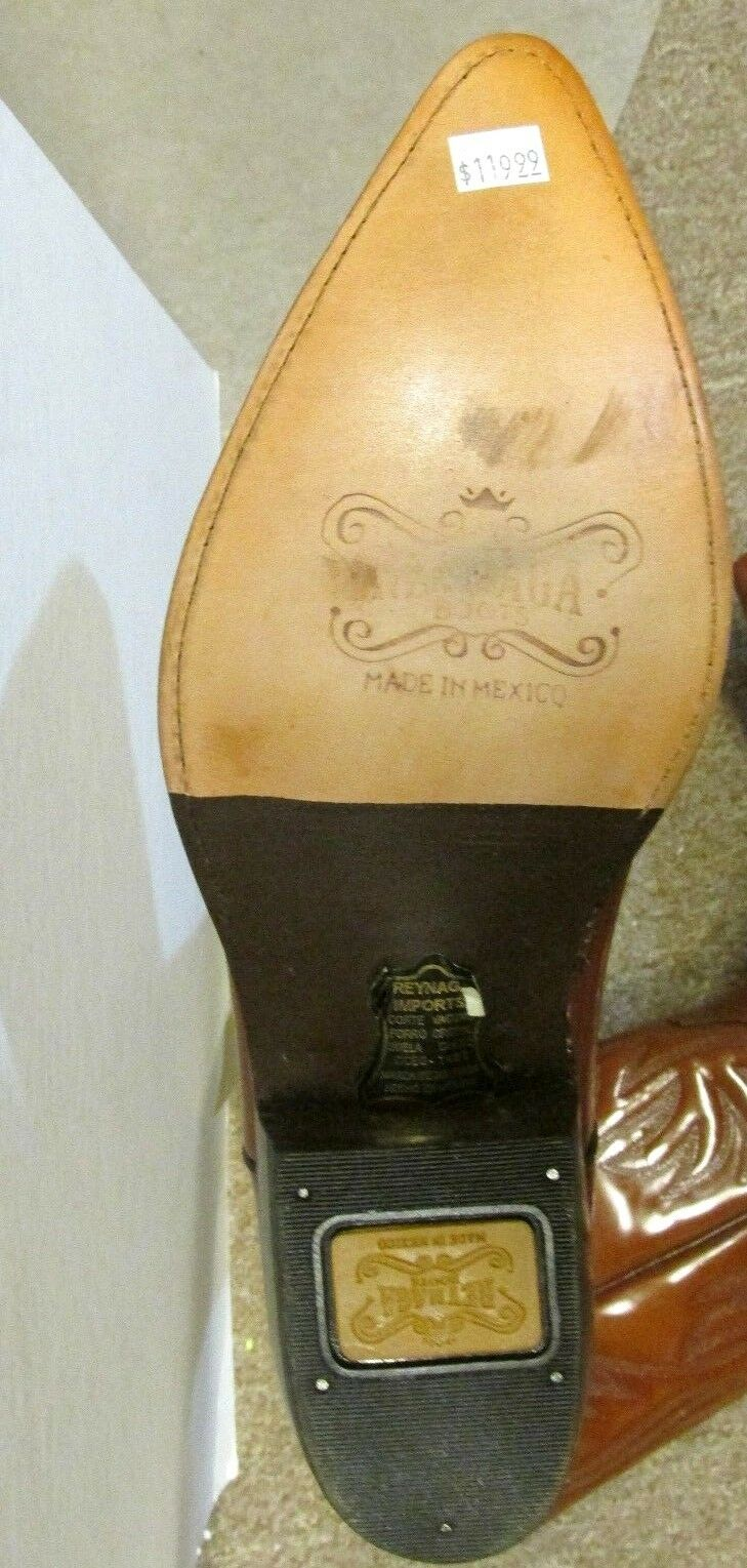 REYNAGA WESTERN LEATHER SOLES BOOT POINTY TOE BROWN VERY NICE SIZE 6 (25.5)WOMEN