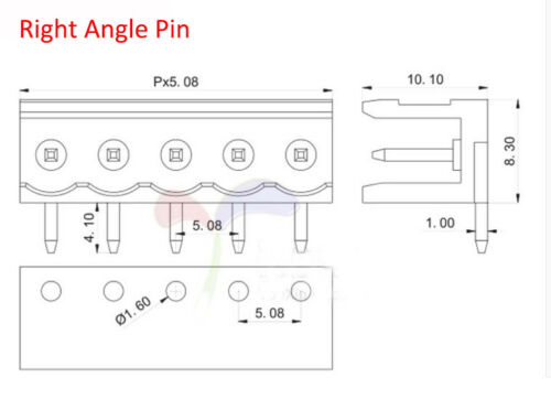 2P//3P//4P//5P//8P HT5.08mm Female Male Screw Terminal Block Connector 300V//10A
