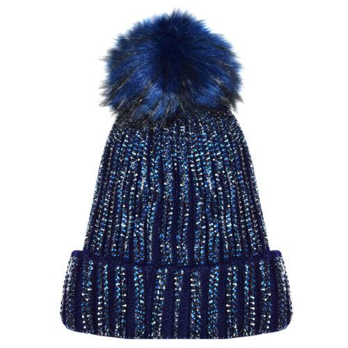 X17 NUOVA A COSTINE BORCHIE PRALINATE Diamond Beanie Cappello di pelliccia pelliccia Pompon Pom Pom in pile Inn