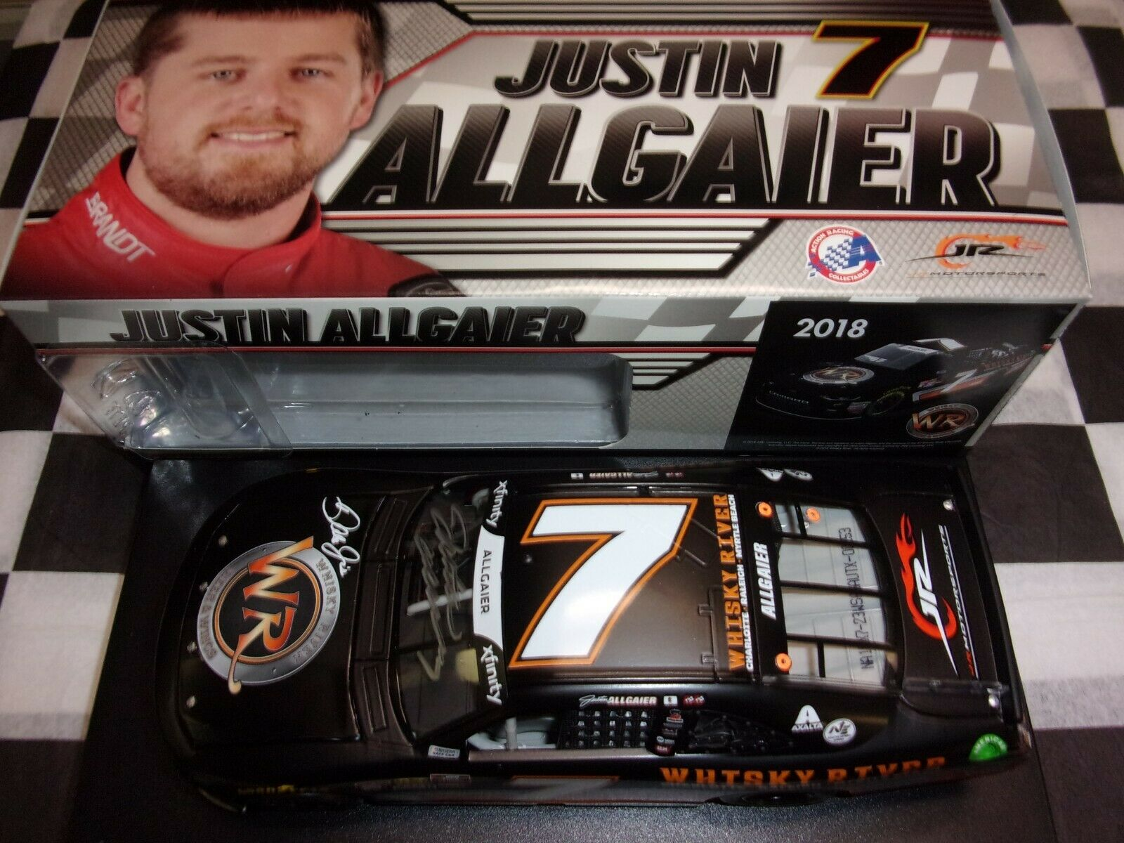 Justin Allgaier  7 Whiskey River 2018 Camaro 1 24 scale car NASCAR AUTOGRAPHED